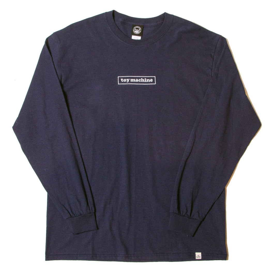TOYMACHINE BOX LOGO LONG SLEEVE TEE - NAVY