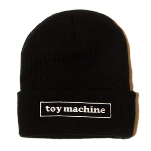 BOX LOGO EMBROIDERY KNIT BEANIE - BLACK