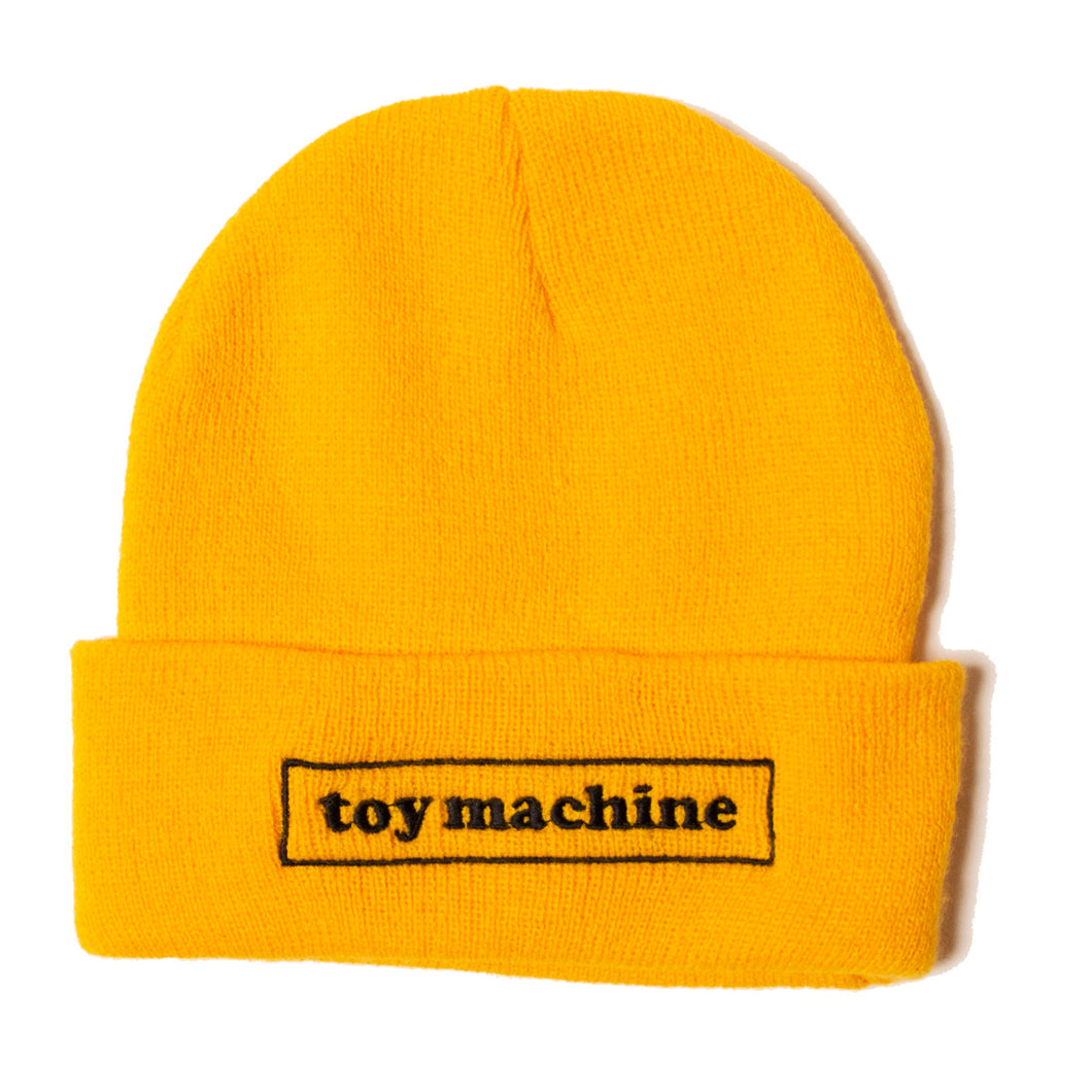 BOX LOGO EMBROIDERY KNIT BEANIE - YELLOW
