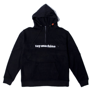 TOYMACHINE LOGO SWEAT HALF ZIP PARKA - BLACK