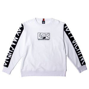 SQUARE MONSTER EMBRO SWEAT CREW - WHITE