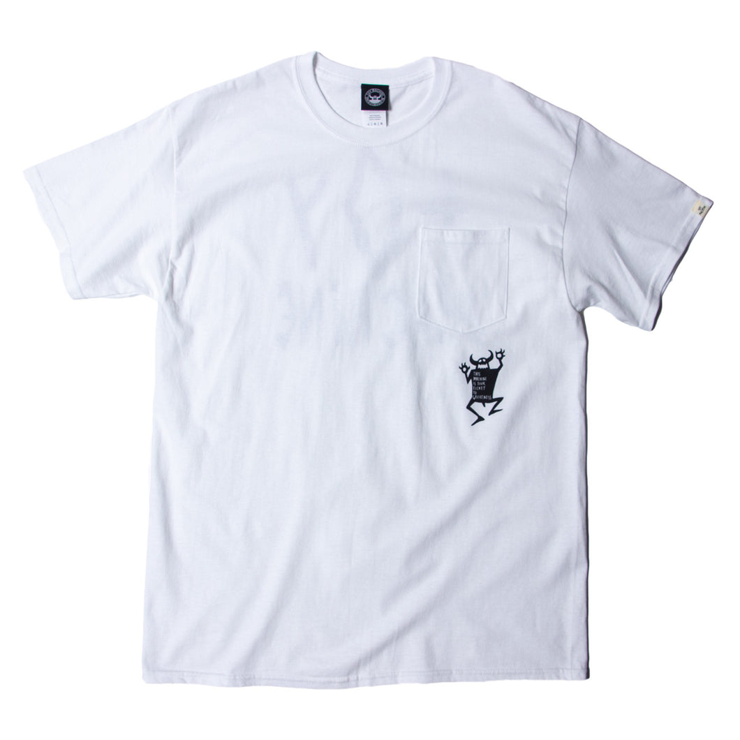 ORIGINAL MONSTER PRINT SS POCKET TEE - WHITE