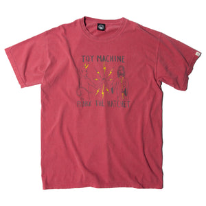 BURY THE HACHET PRINT PIGMENT SS TEE - DK. RED