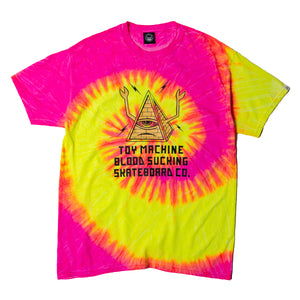 PYLAMID SECT PRINT TIE-DYE SS TEE - PINK