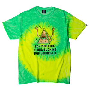 PYLAMID SECT PRINT TIE-DYE SS TEE - LIME