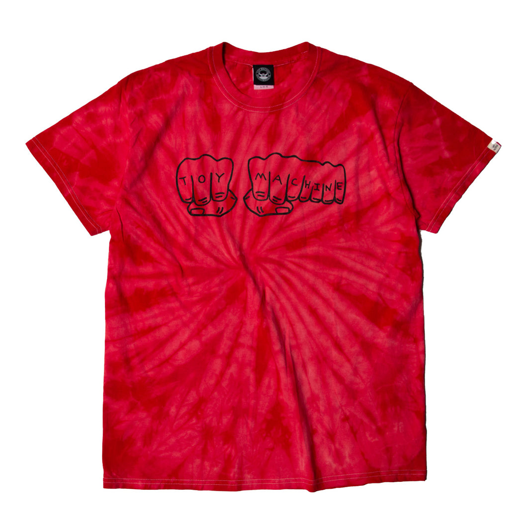FIST PRINT TIE-DYE SS TEE - RED