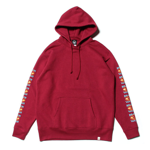 BRAINWASH SLEEVE PRINT SWEAT PARKA - BURGANDY