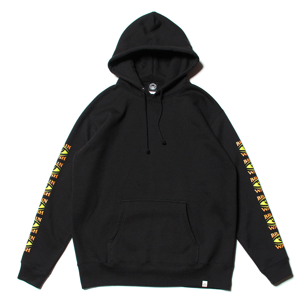 BRAINWASH SLEEVE PRINT SWEAT PARKA - BLACK