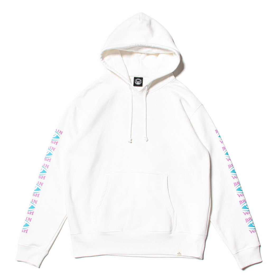 BRAINWASH SLEEVE PRINT SWEAT PARKA - WHITE