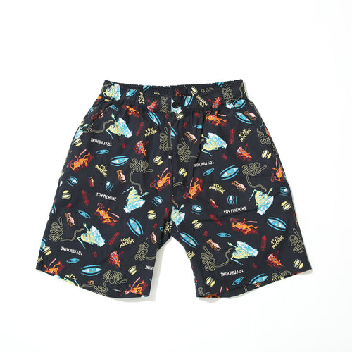 PRINT SHORT PANTS /SECT EYE GRAPHIC - BLACK