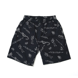 PRINT SHORT PANTS / LINE MONSTER - BLACK