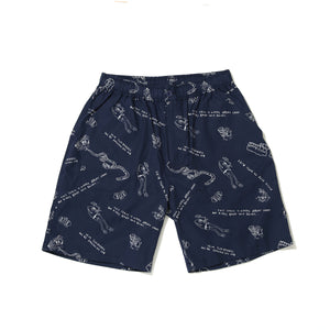PRINT SHORT PANTS / LINE MONSTER - NAVY