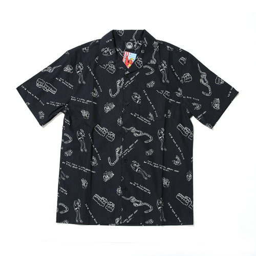 LINE MONSTER PRINT SHIRTS - BLACK