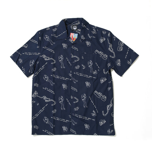 LINE MONSTER PRINT SHIRTS - NAVY
