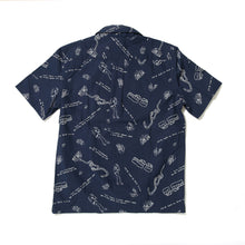 LINE MONSTER PRINT SHIRTS -NAVY-