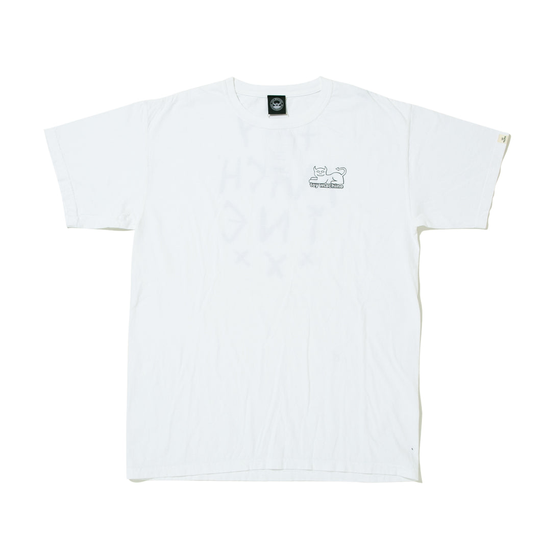 DEMON CAT WASHED SHORT SLEEVE TEE - WHITE