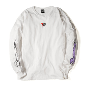 ARM EMBROIDERY LONG TEE - WHITE