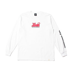 DEMON CAT PRINT LONG TEE - WHITE