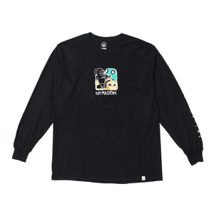 TM SQUARED PRINT LONG TEE - BLACK