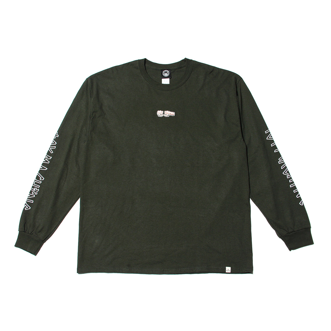 FIST  EMBROIDERY LONG TEE - FOREST GREEN