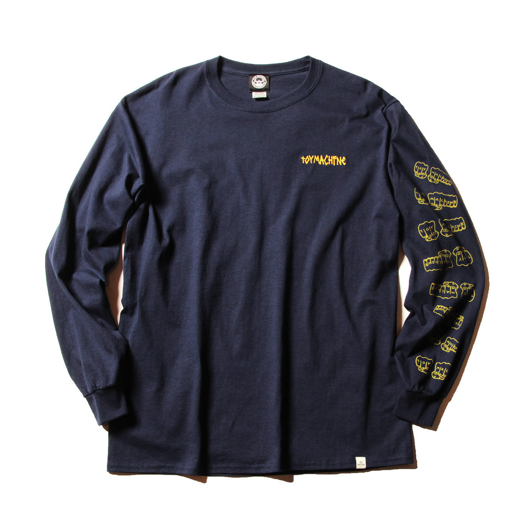 FIST EMBROIDERY LONG TEE - NAVY