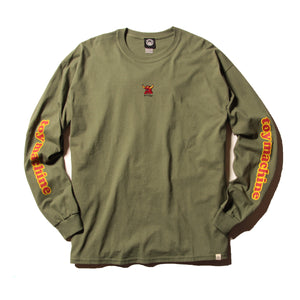 MONSTER MARKED EMBROIDERY LONG TEE - OLIVE