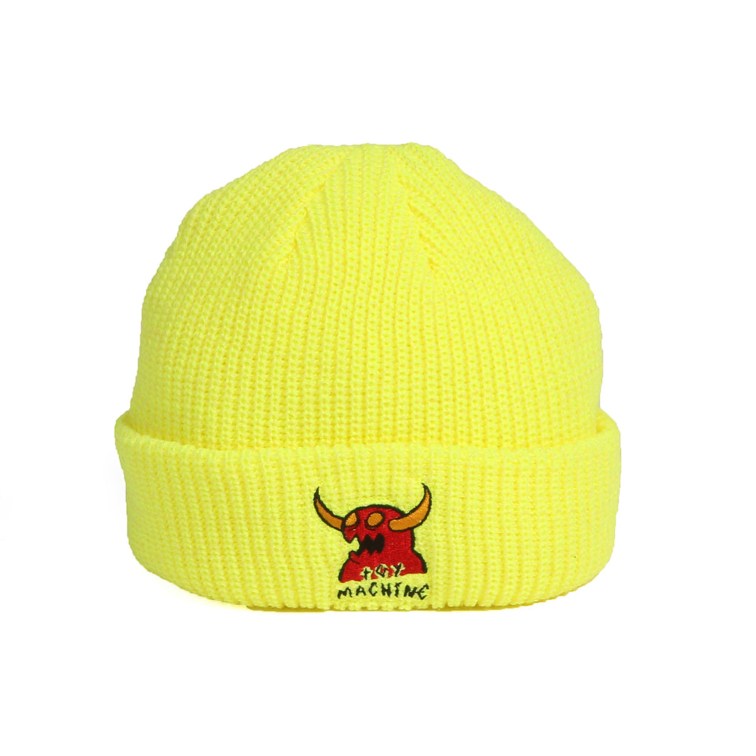 MONSTER MARKED EMBROIDERY BEANIE - NEON YELLOW
