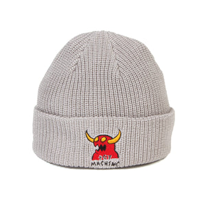 MONSTER MARKED EMBROIDERY BEANIE - GREY