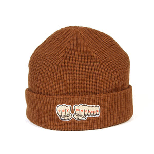 FIST EMBROIDERY BEANIE - BROWN