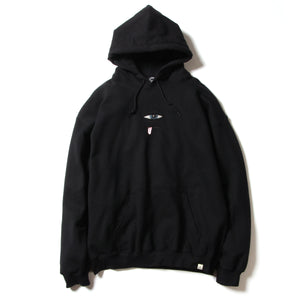 SECT EYE EMBROIDERY SWEAT PARKA - BLACK