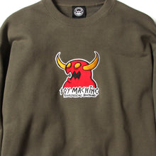 MONSTER MARKED EMBROIDERY SWEAT CREW - OLIVE