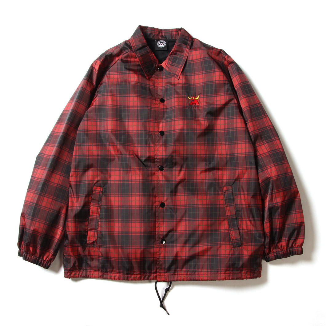PATTERN PRINT COACH JACKET - TARTAN CHECK(RED)