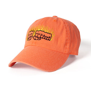 FLAME FIST EMBROIDERY SIX PANEL CAP - NEON ORANGE