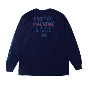 MONSTER MARKED EMBRO LONG TEE - NAVY