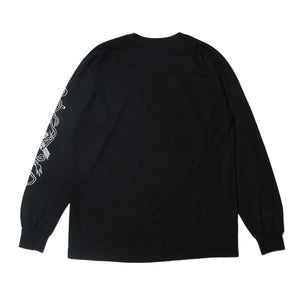 DEAD TEXT EMBRO LONG TEE - BLACK