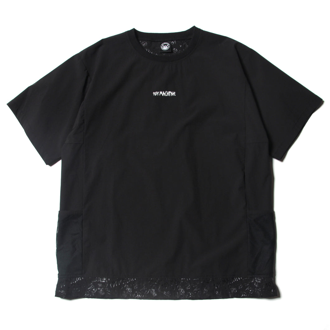 SIDE POCKET CREW NECK SHIRTS - BLACK