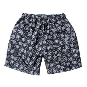 PYRAMID SECT PRINT SHORT PANTS - BLACK