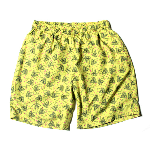 PYRAMID SECT PRINT SHORT PANTS - YELLOW