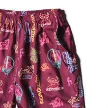 NEON PRINT SHORT PANTS - WINE