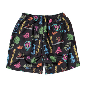 NEON PRINT SHORT PANTS - BLACK