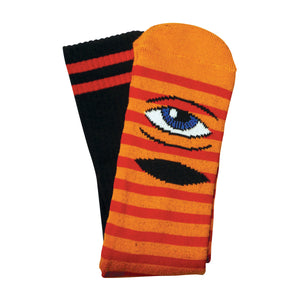 TM SECT EYE STRIPE SOCKS  - ORANGE/ RED