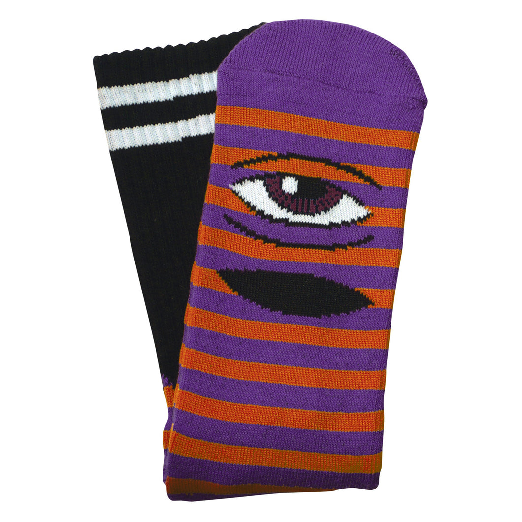 TM SECT EYE STRIPE SOCKS  - PURPLE/ ORANGE