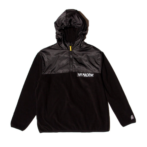 TAPE LOGO FLEECE PARKA - BLACK