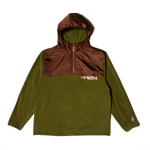 TAPE LOGO FLEECE PARKA - OLIVE