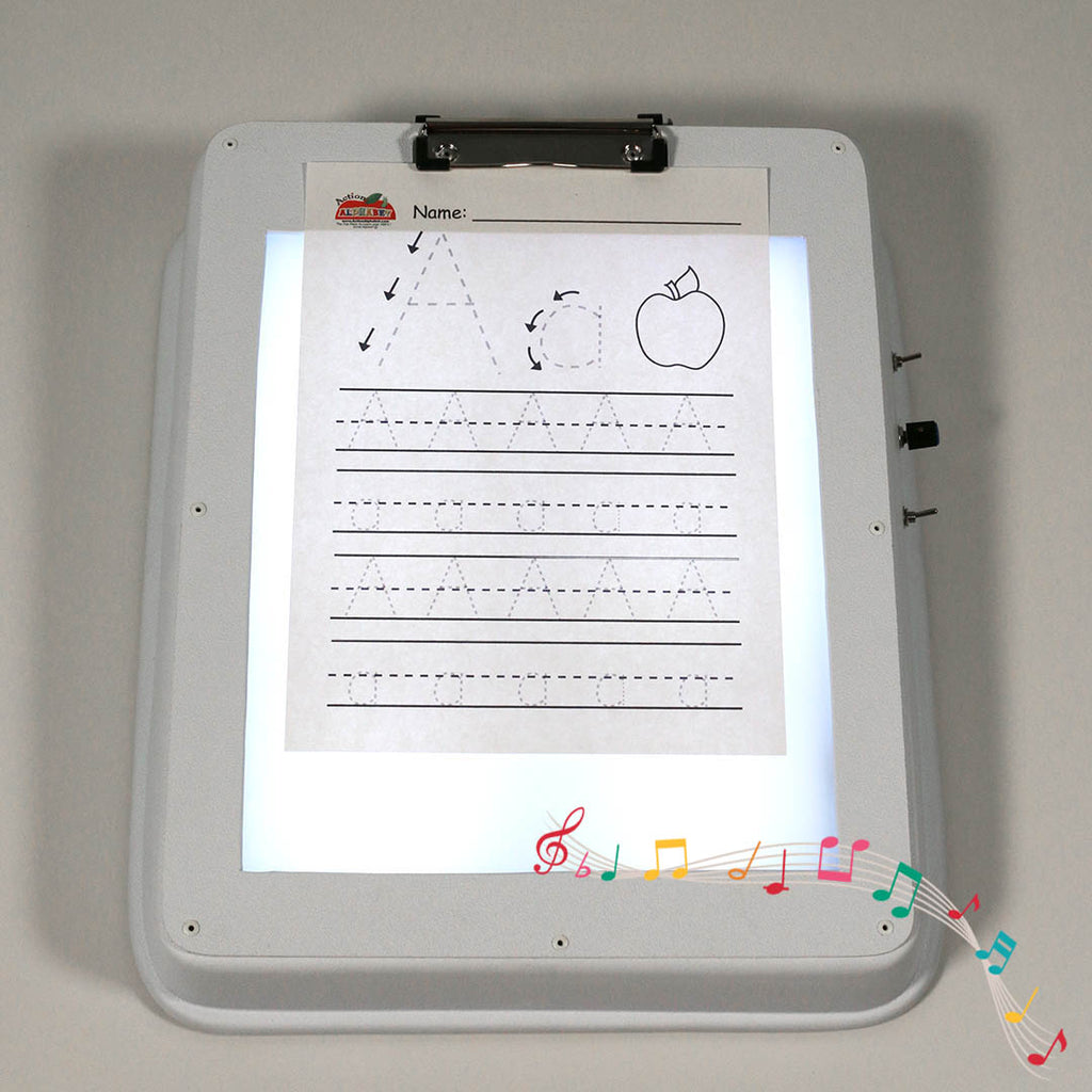 Musical Light Box/ Writing Board with a Set of 8 Squishy Shapes