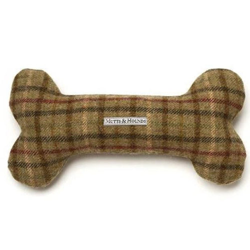 Mutts & Hounds - Balmoral Tweed Squeaky Bone Dog Toy