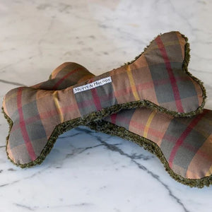 Mutts & Hounds - Tartan Wax & Olive Sherpa Squeaky Bone Dog Toy