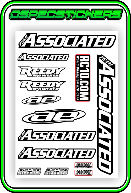 TEAM ASSOCIATED STICKER SHEET A5 - Jspec Stickers