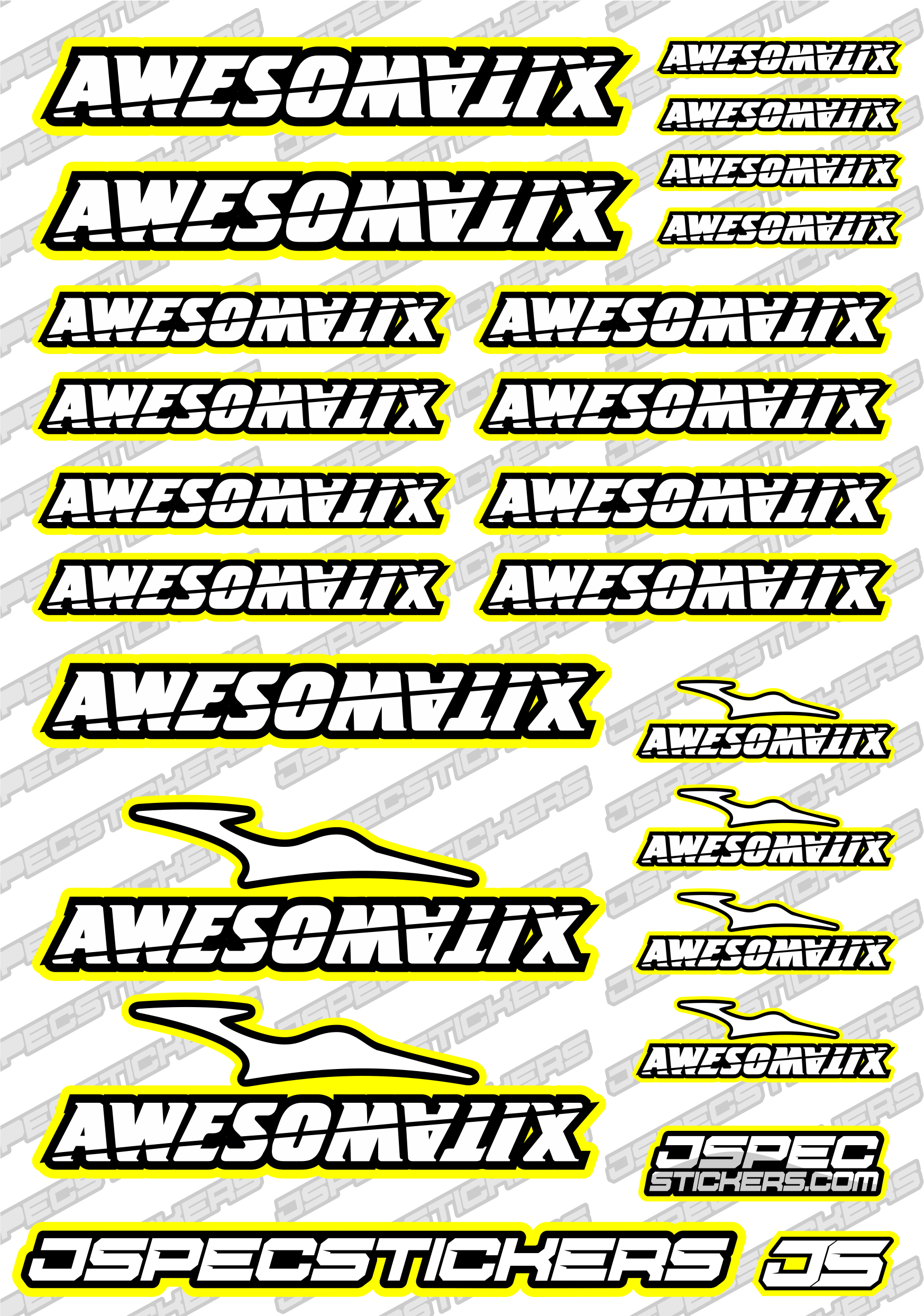 AWESOMATIX RC STICKER SHEET A5 'RK EDITION' - Jspec Stickers