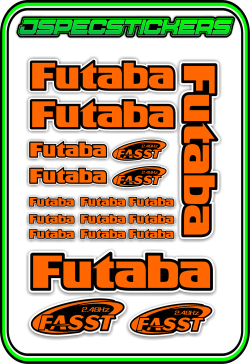 FUTABA RC STICKER SHEET A5 - Jspec Stickers